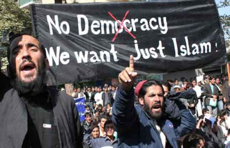 Angry-Muslims-Protest-No-Democracy-Just-Islam-450x289